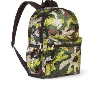 """16"""" Camo Sparkle Sequin Backpack Bag NEW"""